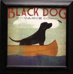 Framed Art Print 'Black Dog Canoe Co.' by Ryan Fowler 30 x (Black Dog Canoe 30 x Amanti Art - Medium (Acrylic) Perro Labrador Retriever, Labrador Noir, Black Labrador, Perros Chow Chow, Black Labs Dogs, Framed Art Prints, Canvas Prints, Framed Wall, Dog Prints