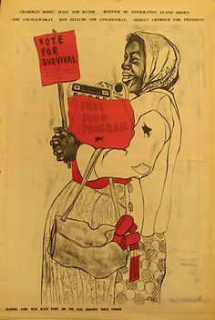 """The woman in this poster carries a generic """"Vote for Survival"""" sign. The text at the top advertises """"Chairman Bobby Seale for Mayor, Minister of Information Elaine Brown for Councilwoman, Ron Dellums for Congressman, Shirley Chisholm for President."""" Bearing a tag reading, """"David Hilliard, People's Free Shoe Program,"""" the shoes in her handbag were more evidence of the Panthers' community programs. Artist: Emory Douglas"""