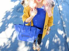 Chic Blue & Yellow Outfit of the Day featuring a blue Celine mini luggage bag and leopard print heels   From Kassandra Brooks of The Haute Blonde- Fashion & Beauty Blog www.TheHauteBlonde.com