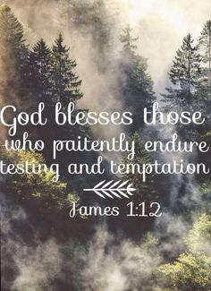 God blesses those who paitently endure testing and temptation - James 1:12