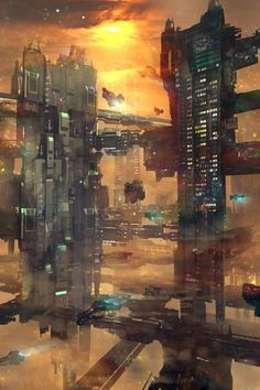 Image result for mixed media scifi city
