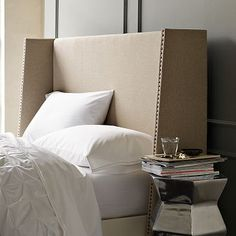 Wingback Nailhead Headboard #WestElm - Should be able to swing this easy