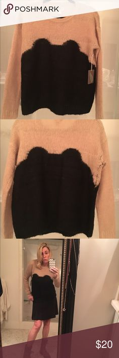 Cool acrylic wool feel sweater Tan and black trendy design Forever 21 sweater.  Comfy statement piece!  Brand new, never word with tags!   Dare to wear this fun piece out with a black mini skirt!!! Forever 21 Sweaters Crew & Scoop Necks