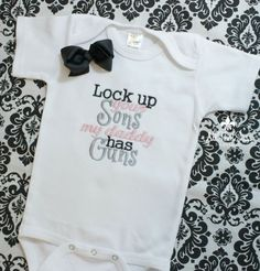 Girls Bodysuit or Shirt with Bow - Baby Shower Gifts - Kids - Creeper - Military - Police - Daddy - Guns - Hunting - Army - Navy - Marines on Etsy, girl boy kid kid Baby Bow Baby Shower, Baby Shower Gifts, Baby Gifts, My Baby Girl, Our Baby, Little Mac, Gifted Kids, Everything Baby, Baby Time