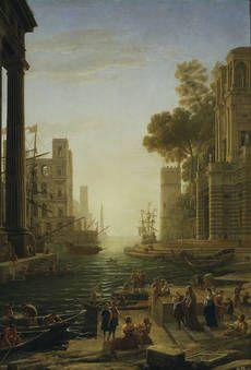 Landscape with the Embarkment of Saint Paula Romana in Ostia by Claudio de Lorena (1639-1640)