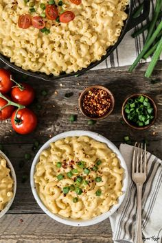 Vegan Mac n Cheese in a skillet and served in a white bowl.