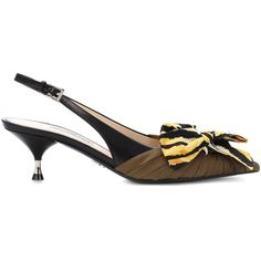 Prada Poplin and Leather Slingback Pumps ($1,040) ❤ liked on Polyvore featuring shoes, pumps, multi coloured shoes, prada pumps, multi-color pumps, slingback pumps and genuine leather shoes
