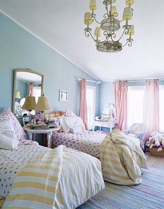 I love blue walls for a girls room.