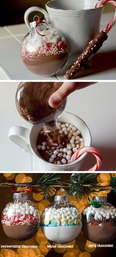 We absolutely love this next idea, this is perfect if you're stuck for present ideas this Christmas! If you have some spare plain glass baubles lying around you can make your own Hot Chocolate gift sets. This was found on The Wow Style.com, and would be an easy way to send handmade stocking fillers to your family and friends. All you would need to do is measure out the ingredients as if you were going to make the hot chocolate in a mug, then layer them up into the bauble.
