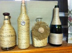 Twine wrapped wine and liqueur bottles