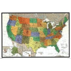 USA Political Wall Map US STATE MAPS Pinterest Wall Maps - United states map physical
