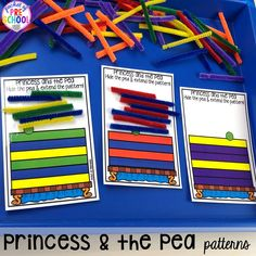 Princess and the Pea patterns! Favorite Fairy Tales activities for every center plus a shape crown freebie all designed for preschool, pre-k, and kindergarten Rhyming Preschool, Rhyming Activities, Preschool Centers, Learning Activities, Preschool Lessons, Preschool Crafts, Fairy Tale Crafts, Fairy Tale Theme, Traditional Tales