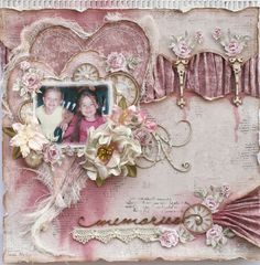 Memories ~ Feminine vintage style page with a lovely folded fabric border.