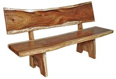 Natural Wood Furniture - Slab Bench - Item # B00605