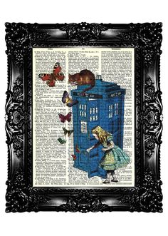 Alice in Wonderland Dr Who Tardis Phone Call Box 2 Dictionary Art Print Upcycled Book  Art Prints Vintage Book Print  Buy 3 get 4th free. $7,99, via Etsy.