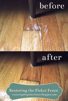 Removing scratches from a wood floor: One part vinegar, three parts cooking oil. Rub in -- no need to wipe off! From restoringthepicketfence.blogspot.com