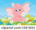 1251833-Clipart-Of-A-Pink-Elephant-Girl-With-A-Butterfly-In-Flowers-Royalty-Free-Illustration.jpg (150×127)