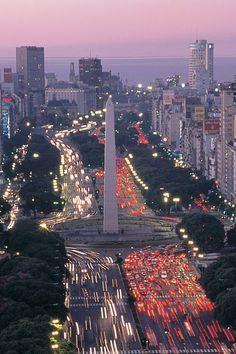 An overview of the Obelisco (The Obelisk) and the Avenida 9 de Julio at twilight, Buenos Aires, Argentina Argentine Buenos Aires, Places To Travel, Places To See, Places Around The World, Around The Worlds, Wonderful Places, Beautiful Places, Puerto Iguazu, Landscape Photography
