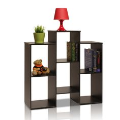 Furinno PARSONS Staggered Cube Bookcase with 6-Shelves