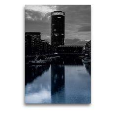 Monochrom, Frankfurt, Skyscraper, Multi Story Building, Round Tower, County Seat, Water Art, Night Photography, Skyscrapers