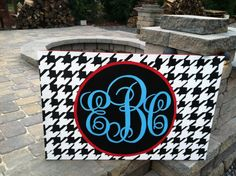 """This is what I would like to do over Eva's bed just in different colors.  24x36"""" Houndstooth Monogram Canvas. $85.00, via Etsy."""