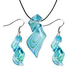 Streamline Pattern Blue Vaidurya Necklace and Earring – USD $ 4.99 free sh