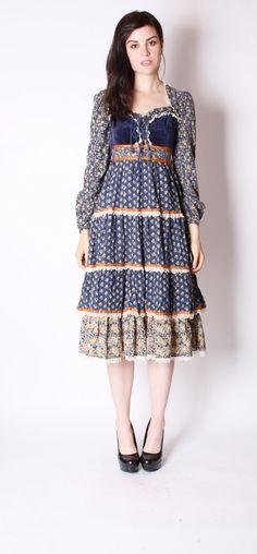 868ea0dca5 Long sleeve Homespun midi dress with blue velvet