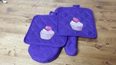 purple pot holder set with cupcake /rose by HeidiTCreations on Etsy