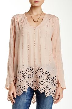 Cutout Detail Tunic by Johnny Was on Embroidered Tunic, Johnny Was, Blush Pink, Tunic Tops, Clothes For Women, My Style, Long Sleeve, Casual, Nordstrom Rack