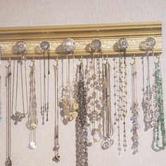 Jewelry organizer CHOOSE 7 or 9 KNOBS. Necklace holder rack with clear and silver knobs wall hung jewelry storage closet or decor gift - Jewelry Organizer Diy Diy Jewelry Holder, Jewelry Organizer Wall, Jewelry Hanger, Hanging Jewelry, Hanging Necklaces, Earring Storage, Jewellery Storage, Jewellery Display, Necklace Storage