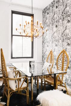 "Now this is our kind of meeting room, and it turns out it's also one of Fister's favorites, which is why she went all-out on the décor. ""We opted for a bold black-and-white bamboo print..."