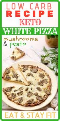 KETO WHITE PIZZA with mushrooms and pesto - The ingredients and how to make it please visit the website carb Ketogenic Recipes, Low Carb Recipes, Diet Recipes, Vegetarian Recipes, Healthy Recipes, Simple Recipes, Cookbook Recipes, Salad Recipes, Low Carb Spaghetti