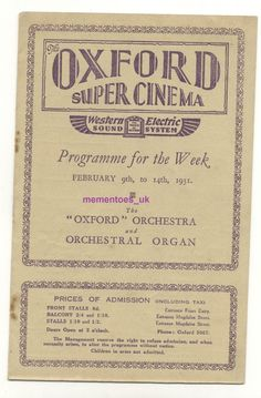 Rare Oxford super Cinema Film programme 1931 Gary Cooper Only the Brave Gary Cooper, Cinema Film, Brave, Theatre, Opera, Oxford, Opera House, Theatres, Oxfords