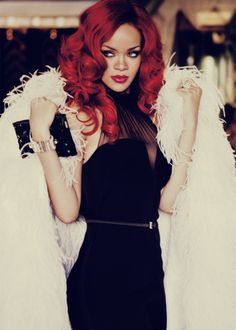 """ pale fur mixed with a dark shift dress broke up her deep red hair and her dark past - Rihanna """