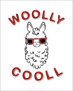 Woolly Cooll – Low Star Studio | Animal Puns | Llamas | Llama | Cute Llama | Alpaca | Cute Alpacas | Hipster Llama |