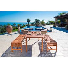 Havenside Home Surfside Eco-friendly Wood Outdoor Dining Set with Backless Benches (Natural Wood Finish), Tan, Patio Furniture Outdoor Dining Furniture, Outdoor Dining Set, Patio Dining, Outdoor Spaces, Outdoor Living, Outdoor Decor, Pool Furniture, Outdoor Tables, Outdoor Stuff