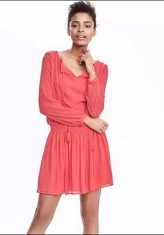 1d8abbf8713 NEW Banana Republic Coral Pink Chiffon Polyester Boho Tassle Dress sz M   fashion  clothing