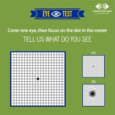 AMSLER GRID TEST What do you see after the test?? If any of the lines look distorted, blurred or wavy in the AMSLER GRID like in option B, report to your doctor immediately. These are the symptoms of Macular Degeneration.