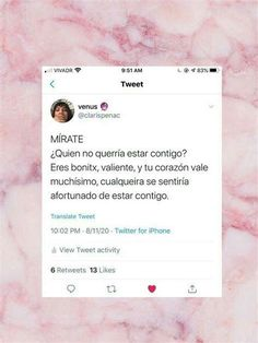 Spanish Phrases, Love Phrases, Spanish Quotes, Cute Quotes, Words Quotes, Ig Captions, Motivational Phrases, Loving Your Body, Tweet Quotes