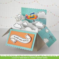 the Lawn Fawn blog: Lawn Fawn Intro: Plane and Simple Pop-up Box card by Yainea.