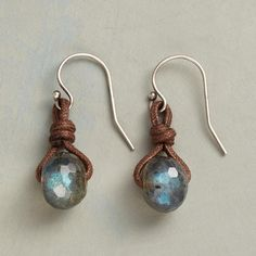 FULL DEPTH EARRINGS--Cord lacing ensnares faceted labradorites as the gems flash blue green iridescence. Sterling silver earrings with French wires. Handmade