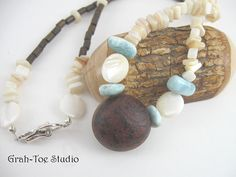 Sea Bean Larimar Mother of Pearl wood Necklace by grahtoestudio, $95.00