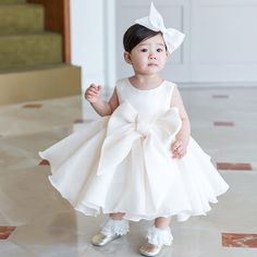 Shop Super Cute Big Bow Ivory Princess Flower Girl Dress For Formal online. Super cute styles with couture high quality. Toddler Flower Girl Dresses, Princess Flower Girl Dresses, White Flower Girl Dresses, Little Girl Dresses, Toddler Dress, Girls Dresses Online, Girls Formal Dresses, Wedding Dresses For Girls, Dress Formal