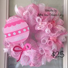 PINK DECO MESH BABY GIRL WREATH | eBay Baby Door Wreaths, Deco Mesh Wreaths, Baby Girl Wreaths, Easter Wreaths, Holiday Wreaths, Baby Shower Crafts, Shower Gifts, Baby Boy Sip And See, Welcome Home Baby