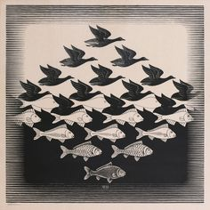 Maurits Cornelis Escher (1898-1972) - Lucht en Water I / Sky and Water I - juin 1938