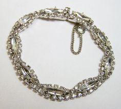 Vintage Crystal Rhinestone Bracelet Silver by GretelsTreasures