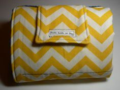 Travel Diaper Changing Pad  Yellow Chevron & Navy Minky by BabblesBubblesBows, $25.00