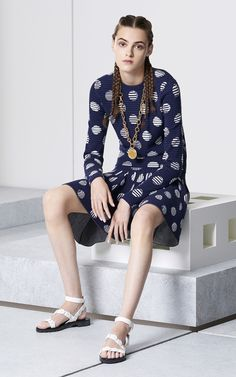 Dots & Stripes Sweater for Women Kenzo | Kenzo.com-270E for sweater. There's also a sleveless A(wide) shape tent top. Also a white with blue medalion t shirt, attractively low cut. Sandals look good with many outfits - about 300E. Find an outlet