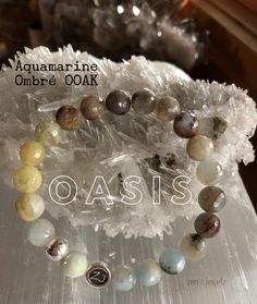 An oasis of peaceful healing stones await you with this Aquamarine blend. Did you know Aquamarine comes in blues, yellows, pinks, whites and browns? So raw and natural this OOAK bracelet will bring you total serenity. Ombré jewelry | luxury jewelry | Healing jewelry | zen jewelz | ZenJen | aquamarine bracelets