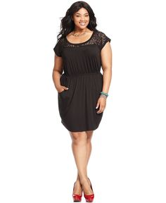 Soprano Plus Size Dress, Short-Sleeve Lace - Plus Size Dresses - Plus Sizes - Macy's